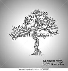 Vector illustration circuit board tree - stock vector