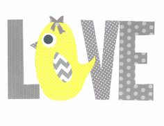 Yellow and Grey Love Chick Nursery Artwork Print // Baby Room Decoration // Kids Room Decoration // Yellow and Grey Nursery //Gift Under 20 on Etsy, $14.00