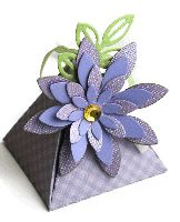 Flower party favor box made using Lifestyle Crafts Triangle Box and Bloom die.