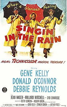 "Classic musical. Funny scenes, stunning cinematography and amazing dance numbers. There's the iconic song/dance with Gene Kelly in the rain but one of my other faves is with Cyd Charisse making Gene Kelly clothes crazy in that green dress. Well-choreographed seduction & dance. Funniest bits are when the famous silent filmtress has to do her 1st ""talkie"" but speaks and sings like tweety bird in real life so they have to hire a voice double. ""Yes, yes yes""...""no,no, nooo."" LOL. <3"