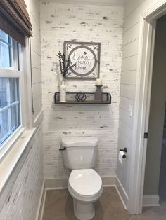 Wallpaper Accent Wall - I have had a lot of interest in my faux brick accent wall so I thought I would . Faux Brick, Small Toilet Room, Toilet Room Decor, Bathroom Styling, Small Bathroom Decor, Brick Bathroom, Small Bathroom, Italian Bathroom Design, Bathroom Design