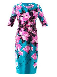 Painterly lily-print sheath dress