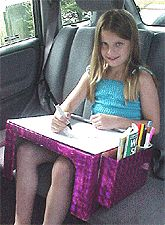 Make your own dry erase travel lap table for the kids! Old box, contact paper.... Genius!!