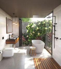 The key factors that go into designing a luxurious modern bathroom Bathroom Layout, Modern Bathroom Design, Bathroom Interior Design, Bath Design, Botanical Bathroom, Tropical Bathroom, Bathroom Trends, Bathroom Renovations, Bathroom Makeovers