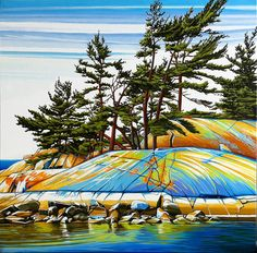 Summer Fraser Bay, Oil on Canvas, 40 inches x 40 inches, SOLD Acrylic Painting Lessons, Art Pictures, Art Pics, London Art, Pastel Art, Canadian Artists, Tree Art, Artist Art, Landscape Art