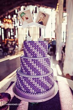 Searching for a unique #weddingcake idea? Look no further! This cake is decorated with diagonal stripes of M in colors to match the wedding palette! Steal the idea & order customized M here: http://mym.ms/zUjfs4