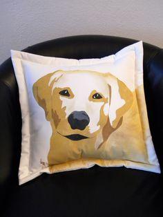 "PET RESCUE BENEFIT:  Yellow Labrador retriever 20"" pillow painted golden lab  dog canine best friend fundraiser shelter firstfridayartwalk. $42.00, via Etsy."