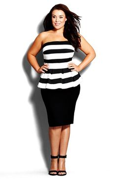 Free shipping and returns on City Chic Stripe Strapless Peplum Dress (Plus Size) at Nordstrom.com. Who says a summer dress needs to be flowery and flowy? This shoulder-baring style bolsters curves in a stretchy, peplum-waist silhouette with a boldly striped, waffle-textured bodice and slim, black skirt.