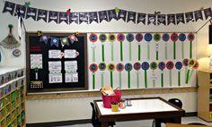 Tunstall's Teaching Tidbits Classroom Tour love this garden themed first grade classroom! Classroom Setting, Classroom Setup, Classroom Design, Classroom Displays, Kindergarten Bulletin Boards, Kindergarten Themes, Creative Teaching, Teaching Tools, Teaching Ideas