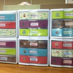 My personal toolbox organizer- took less than 2 hours with colors to match my classroom theme. Used scrapbook paper, owl stickers, printed labels, and double-sided adhesive sheets. I ran out so some drawers are mod-podged on. So pretty!