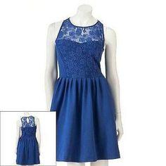LC LAUREN CONRAD BLUE LACE FIT & FLARE PONTE DRESS SIZE 2,4,6,8,10,12;NWT