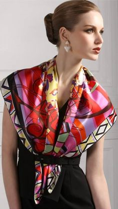 Luxurious Purple Red Floral Patterns Mulberry Silk Square Scarf BUY NOW A Scarf is a piece of cloth which is normally worn around th. Ways To Wear A Scarf, How To Wear Scarves, Bandanas, Wholesale Scarves, Chiffon, Mulberry Silk, Silk Crepe, Silk Satin, Square Scarf