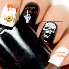 Halloween Water Decals - http://www.mynailpolishonline.com/2015/10/nail-art-2/halloween-water-decals/