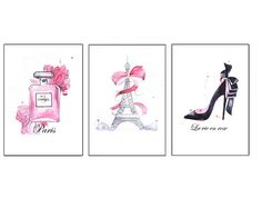 Paris/eiffel tower illustrations / loubouten / chanel / pink Paris Eiffel Tower, Deco, Bookends, Etsy Seller, Chanel Pink, Rose, Creative, Illustrations, Shop
