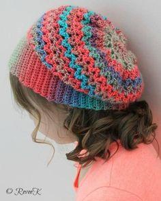 The Audrey Sophia Slouchy by Revee Kraszewski - colourful crochet slouchy hat Bonnet Crochet, Crochet Cap, Cute Crochet, Crochet Scarves, Crochet Crafts, Crochet Clothes, Easy Crochet, Crochet Projects, Crochet Blankets