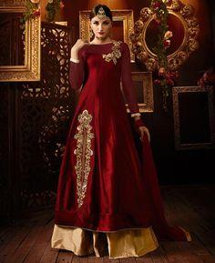 Buy Fine Maroon Party Wear Salwar Kameez online at  https://www.a1designerwear.com/fine-maroon-party-wear-salwar-kameez-2  Price: $51.73 USD