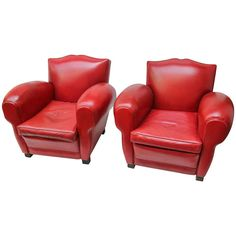 Pair of Red Leather Club Chairs | From a unique collection of antique and modern armchairs at http://www.1stdibs.com/furniture/seating/armchairs/