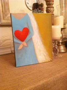 An original 8x10x2 Abstract Blue Angel with a Red by thesaltyrose, $75.00