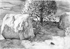 59 New Ideas For Plants Sketch Realistic Tree Tattoo Arm, Pine Tree Tattoo, Plant Sketches, Tree Sketches, Trees Drawing Tutorial, Drawing Ideas, Tree Design On Wall, Oak Tree Silhouette, Landscape Pencil Drawings