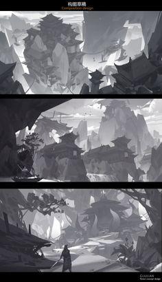 ArtStation - Composition design, G liulian Environment Painting, Environment Concept, Environment Design, Landscape Concept, Fantasy Landscape, Landscape Art, Landscape Illustration, Illustration Art, Value Painting