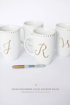 DIY Gift // Monogram Sharpie Mugs for your bridal party or wedding guests! Est. cost $10