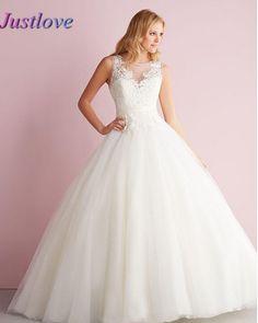Lace Appliques Sleeveless Princess Wedding Dresses