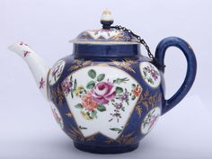 Rare First Period Worcester Porcelain Powder Blue Ground teapot circa 1765. Leo Kaplan Ltd