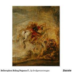 Bellerophon Riding Pegasus Fighting the Chimaera Poster | Zazzle.com