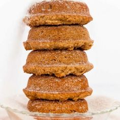 gluten free spice donuts1 ½ C GF flour, 1 C sugar, 2 tsp baking powder, ½ tsp salt, ¼ tsp cinnamon, ¼ tsp nutmeg, 2 eggs, ¼ C veg oil ½ C rice milk  Spiced Sugar: ½ C sugar, 2 tsp cinnamon ½ tsp nutmeg ¼ tsp salt 1/8 tsp cloves  1. Preheat at 350°F. whisk dry ingredients.  2. whisk wet ingredients and add to the flour mixture and whisk until combined; fill each doughnut cup about three-quarters full. Bake about 15 minutes.  3. Spiced sugar, mix ingr. & Dredge the warm doughnuts to coat.