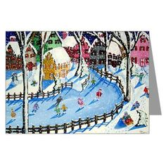 Winter Holiday Ice Skate Snowmen  Whimsical Fun Folk Art Greeting Cards Pk of 10. $23.99, via Etsy.