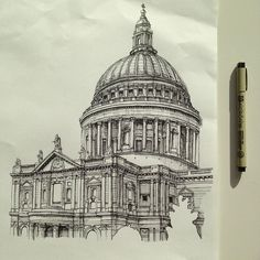 St Paul's Cathedral London Source by myazhina Architecture Sketchbook, Art Sketchbook, Art And Architecture, London Sketch, London Drawing, Illustration Art Drawing, Art Drawings, Building Sketch, A Level Art