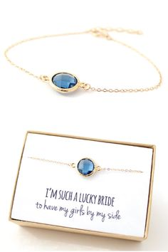 Navy and Gold Bridesmaid Bracelet - Blue Bridesmaid Bracelet Blue Jewelry Blue Bracelets Delicate Bracelet Blue Bridesmaid Gift - BB1