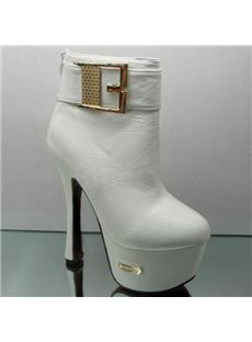 Sexy Platform Heels Ankle Boots With Buckle