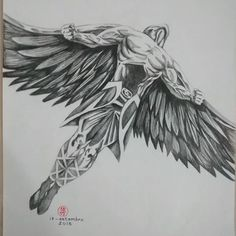 Look here – Tattoo Designs Dope Tattoos, Body Art Tattoos, Tattoos For Guys, Icarus Tattoo, Angel Back Tattoo, Angel Tattoo Men, Tatuagem Icarus, Tattoo Sleeve Designs, Sleeve Tattoos