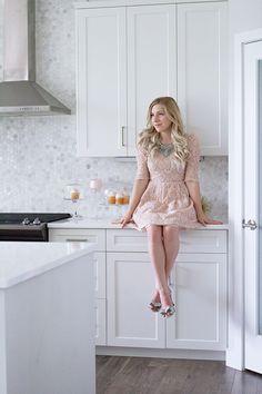 Blogger Home Tour: Beautiful white kitchen with marble hexagon tile.