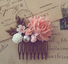 Bridal Hair Comb Pink Wedding Blush Floral White Pearl Leaf Flowers Soft Pink Pastel Color Shabby Chic Romantic Vintage Style Woodland by Jewelsalem