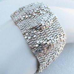 Large Silver Ripples Peyote Cuff / Peyote Bracelet (2457) - A Sand Fibers Creation via Etsy