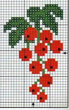 **Blog Amor Perfeito** Gráficos de ponto cruz: Frutas, Verduras e legumes Cross Stitch Fruit, Cross Stitch Borders, Simple Cross Stitch, Cross Stitch Flowers, Cross Stitch Charts, Cross Stitch Designs, Cross Stitching, Cross Stitch Embroidery, Embroidery Patterns