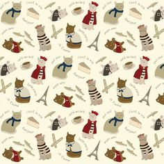 Adorable!!!!    (Small) French Cats in Paris fabric by greencouchstudio on Spoonflower - custom fabric