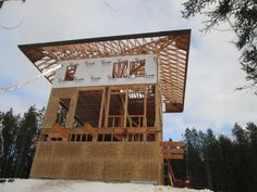 The Lookout – a new custom home in West Glacier Mountain West Glacier, Pole House, Building Companies, Timber House, Cabins In The Woods, Abandoned Houses, Custom Homes, Montana, House Plans