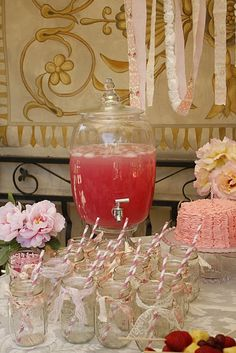 (1:00pm - 1:15pm) Poised, Polished, and Pink drinks for the girls as they first arrive. Will be displayed on the long table at the entrance along floral arrangements by Marti.