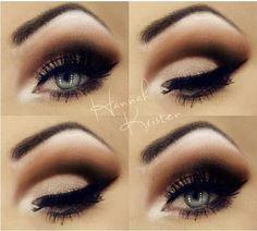Dramatic brown, peach copper eye makeup - flawless blending