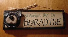 bear house decor | ... Black Bear Lodge Rustic Log Cabin Wood Home Decor Sign | eBay