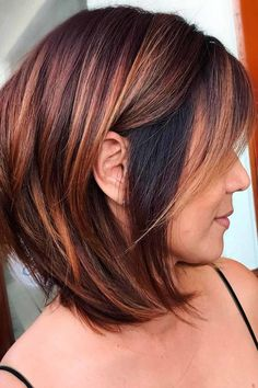 Hair Color And Cut, Haircut And Color, Brown Hair Colors, Cherry Cola Hair Color, Medium Hair Styles, Curly Hair Styles, Angled Hair, Wedge Haircut, Golden Brown Hair