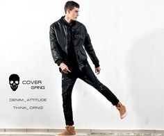 black distressed denim, black leather jacket, stylish menswear