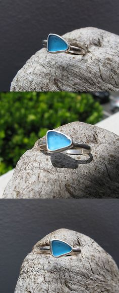 Necklaces and Pendants 110655: Turquoise Genuine Caribbean Sea Glass Sterling Silver Stacker Ring Size 8 -> BUY IT NOW ONLY: $50 on eBay!
