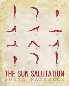 Sun Salutation / 12 basic Yoga postures  18x24 by sunnychampagne, $100.00