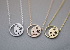 Twinkle Stars and Crescent moon necklace in 3 colors, moon and star ne
