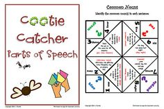 Cootie catchers for Reviewing Parts of Speech  $3.00