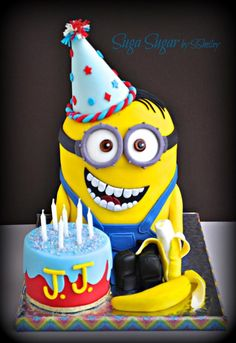 Happy Birthday J. Chocolate cake with vanilla buttercream frosting covered in marshmallow fondant. 13 Birthday Cake, Minion Birthday, Happy Birthday, Minion Party, Despicable Me Cake, Minion Cookies, Happy Cake Day, Rodjendanske Torte, Chocolates